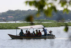 Travelers. Enjoy the water by renting a fishing boat Boyolali, Central Java, Indonesia stock photography