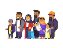 Travelers in Good Mood Set Vector Illustration. Travelers in good mood set, people standing with personal belongings looking in distance, waiting for their turn vector illustration
