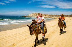 Travelers horseback riding in Cabo San Lucas. Cabo San Lucas, Mexico - circa April 2016. Travelers horseback riding in Cabo San Lucas. Cabo San Lucas is the stock images