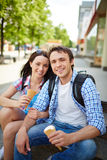 Travelers with ice-cream Royalty Free Stock Photo