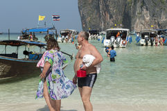 Travelers at the lovers' beach in Phuket Royalty Free Stock Photo