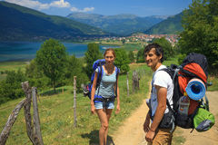 Travelers in Mountains Stock Photography