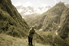 Travelers in the mountains. Mountain landscape and people. Royalty Free Stock Photos