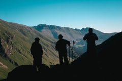 Travelers in the mountains. Mountain landscape and people. Royalty Free Stock Images