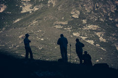 Travelers in the mountains. Mountain landscape and people. Royalty Free Stock Photography