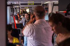 Travelers in overcrowded train heading to Hungary from Austria. All trains to and from Hungary were suspended Monday, 31 August 2015, as hungarian autorities Royalty Free Stock Photos