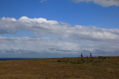 Travelers and The pacific ocean taiwan  grassland Royalty Free Stock Image