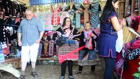 Travelers people change and take off costume traditional of Ethnic Hmong stock video footage