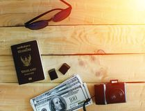 The travelers prepare before traveling abroad stock photo