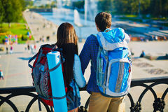 Travelers with rucksacks Royalty Free Stock Images