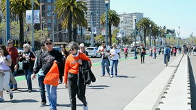Travelers in San Francisco, California, USA,. SAN FRANCISCO - APR 18, 2015: travelers in sunny day on April 18, 2015 in San Francisco, USA stock video footage