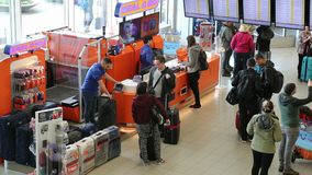 Travelers at Schiphol airport, Amsterdam stock video footage