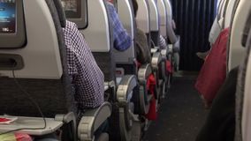 Travelers seated along the aisle of an airplane. A typical scene on an airplane during the flight stock video