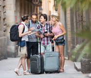 Travelers are sightseeing city with map and camera Royalty Free Stock Image