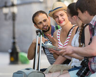 Travelers are sightseeing city with map and camera Stock Image