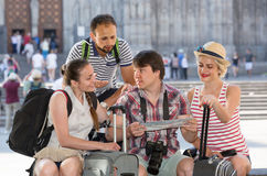 Travelers are sightseeing city with map and camera Stock Photo