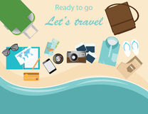 Travelers suitcase travel vacations conceptual vector illustrati Royalty Free Stock Images