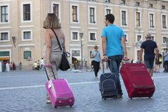 Travelers with suitcases Stock Photos