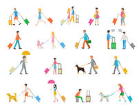 Travelers with suitcases on white background. People with suitcases and luggage in their hands go. Flat style. Vector illustration stock illustration