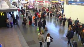 Travelers at Termini Railway Station in Rome Italy. Rome,Italy - January 2016: people at Termini Railway Station in Rome Italy stock video