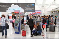 Travelers at the Toronto Pearson Airport stock image