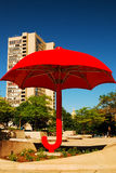 Travelers Umbrella. The Travelers Umbrella, the symbol of the giant insurance company, sits in a public plaza in Hartford, Connecticut Royalty Free Stock Image