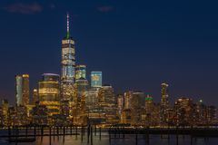 View to Manhattan from New Jersey. Travelers visiting NYC who want a panoramic view of the Manhattan skyline will be impressed with their options along the royalty free stock photos