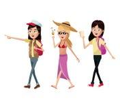 traveles do turista das mulheres do grupo ilustração do vetor