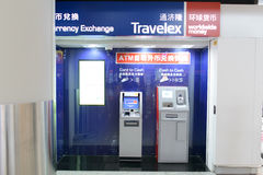Travelex ATM in luchthaven Royalty-vrije Stock Foto