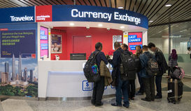 Travelex currency exchange couter. Money exchange shop in Kuala Lumpur International Airport service for visitor and tourist. KUALA LUMPUR, MALAYSIA - MAR 22 Stock Photos