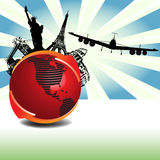 Traveling. Abstract colorful illustration with red globe, two colorful arrows, plane silhouette and various touristic symbols. Traveling concept