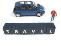 Traveling. Person and car behind the word travel stock images