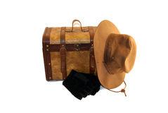 Traveling. A pair of old cases and other items for traveling Stock Image