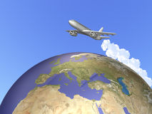 We are traveling abroad on a jet. Royalty Free Stock Image