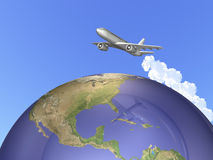 We are traveling abroad on a jet. Stock Photography