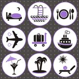 Traveling and accommodation icons Royalty Free Stock Image