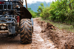 Traveling activity, Off road buggy on country road in rainy day. Traveling activity , Off road buggy on country road in rainy day Stock Images
