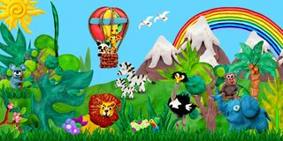 Traveling  by air balloon Zoo animals 3D rendering children banner illustration. Traveling  by air balloon baby animals 3D rendering children banner illustration Stock Image