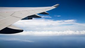 Traveling by air. Plane wing in flight. Beautiful sky and wonderful clouds stock photos