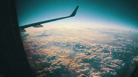 Traveling by Air. View through Airplane Window stock footage