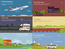 Traveling by airplane and car, train, bus Stock Image