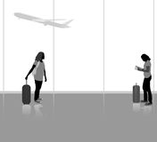 Traveling with airplane scene. Vector silhouette people in the airport background Royalty Free Stock Photo