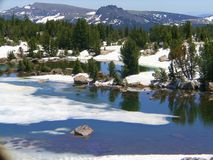 Traveling along Beartooth Pass, Montana Snow in June. This is a beautiful June day as we travel along the Beartooth Pass in Montana. Icy streams and snow capped royalty free stock image