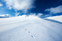 Traveling along snowy mountains Royalty Free Stock Photos