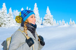 Traveling along snowy mountains Royalty Free Stock Photography