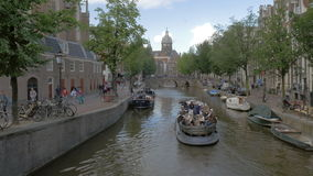Traveling in Amsterdam by boat stock video footage
