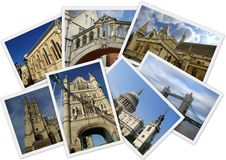 Traveling around England. In collage with several shots on white background Royalty Free Stock Photography