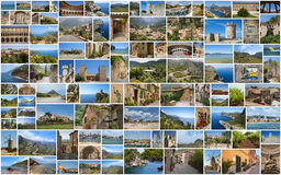 Traveling around Mallorca. In collage with several shots Stock Photos