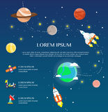Traveling around solar system by spaceship infographic flat desi Stock Photo
