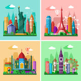 Traveling Around The World. Cities Skylines Set. Flat Landscapes Of London, Paris, New York And Delhi With Landmarks